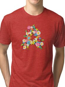 Spring Flowers Alphabet A Monogram Tri-blend T-Shirt