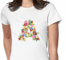 Spring Flowers Alphabet A Monogram Womens Fitted T-Shirt