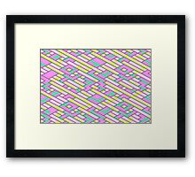 Geometric Lanes (Glam Pink/Yellow/Blue) Framed Print