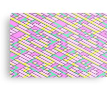 Geometric Lanes (Glam Pink/Yellow/Teal) Metal Print