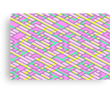 Geometric Lanes (Glam Pink/Yellow/Blue) Canvas Print