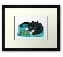 Mouse and Kitten Play with Green Yarn  Framed Print