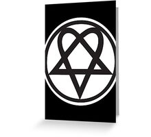 Heartagram - Black on White Greeting Card