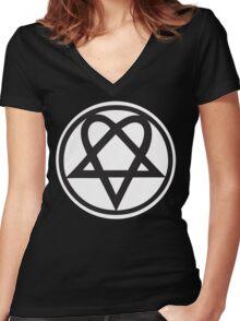 Heartagram - Black on White Women's Fitted V-Neck T-Shirt
