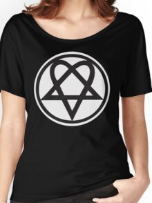 Heartagram - Black on White Women's Relaxed Fit T-Shirt