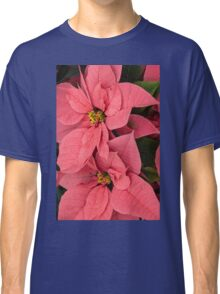 Christmas Greetings with a Vivacious Pink Poinsettia - a Vertical View Classic T-Shirt