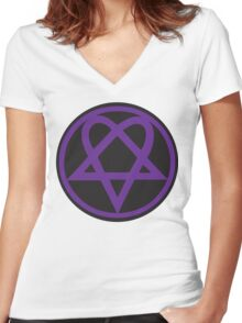 Heartagram - Purple on Black Women's Fitted V-Neck T-Shirt