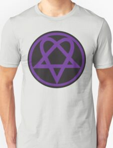 Heartagram - Purple on Black Unisex T-Shirt