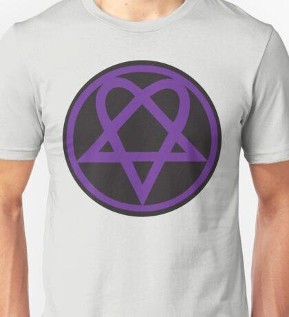 Heartagram - Purple on Black Unisex T-Shirt