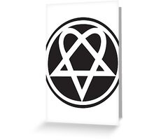 Heartagram - White on Black Greeting Card