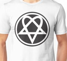 Heartagram - White on Black Unisex T-Shirt