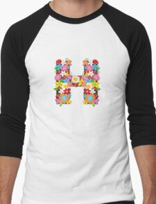 "Spring Flowers Alphabet Monogram ""H"" Men's Baseball ¾ T-Shirt"