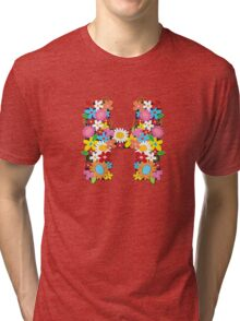 "Spring Flowers Alphabet Monogram ""H"" Tri-blend T-Shirt"