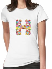"Spring Flowers Alphabet Monogram ""H"" Womens Fitted T-Shirt"