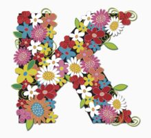 Spring Flowers Alphabet K Monogram T-shirt Kids Clothes