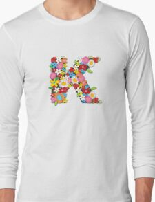 Spring Flowers Alphabet K Monogram Long Sleeve T-Shirt