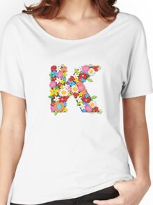 Spring Flowers Alphabet K Monogram Women's Relaxed Fit T-Shirt