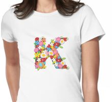 Spring Flowers Alphabet K Monogram Womens Fitted T-Shirt