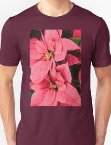 Pink Poinsettias Painting - Christmas Impressions Unisex T-Shirt