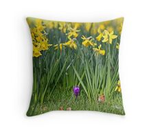 Lost in a Daffodils field Throw Pillow