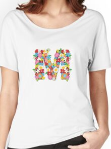 Spring Flowers Alphabet M Monogram Women's Relaxed Fit T-Shirt