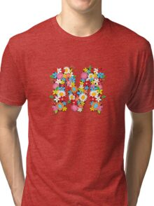 Spring Flowers Alphabet M Monogram Tri-blend T-Shirt