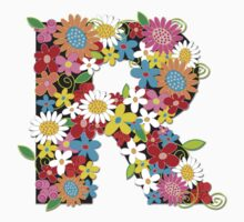 Spring Flowers Alphabet R Monogram T-shirt Kids Tee
