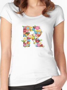 Spring Flowers Alphabet R Monogram Women's Fitted Scoop T-Shirt