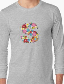 Spring Flowers Alphabet S Monogram Long Sleeve T-Shirt