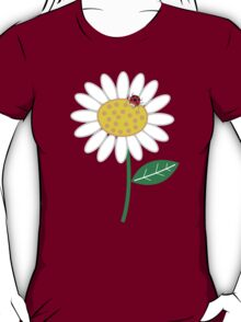 Whimsical Summer White Daisies & Red Ladybugs T-Shirt