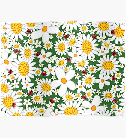 Whimsical Summer White Daisies & Red Ladybugs Poster