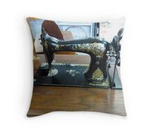 Old Singer Treadle Sewing Machine Throw Pillow