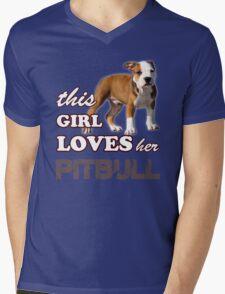 This Girl Loves Her Pit bull Mens V-Neck T-Shirt