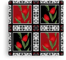 Oriental pattern modern elements with flowers of red tulips Canvas Print