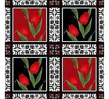 Oriental pattern modern elements with flowers of red tulips Photographic Print