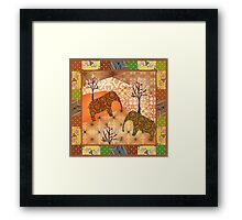 Pattern with elephants patchwork elements brown african Framed Print