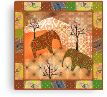 Pattern with elephants patchwork elements brown african Canvas Print