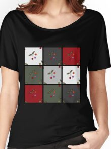 Patchwork seamless pattern texture background with cherries Women's Relaxed Fit T-Shirt