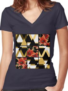 Patchwork seamless floral orange lilly pattern texture background with decorative elements Women's Fitted V-Neck T-Shirt