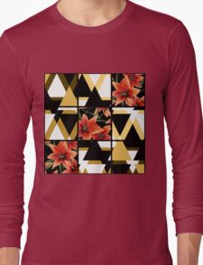 Patchwork seamless floral orange lilly pattern texture background with decorative elements Long Sleeve T-Shirt