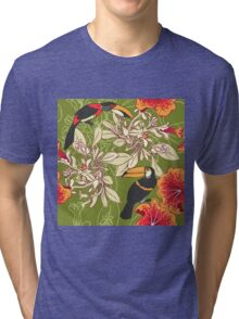Seamless floral background with petunia toucan Tri-blend T-Shirt
