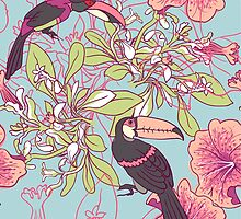 Seamless floral background with petunia toucan by OlgaBerlet