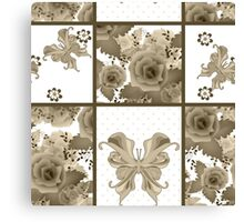 Seamless vintage floral sepia retro colors rose butterfly pattern background Canvas Print