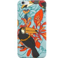 Seamless floral background with petunia toucan iPhone Case/Skin