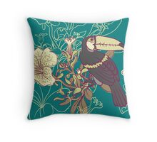 Seamless floral background with petunia toucan Throw Pillow