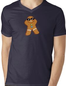 Tan Gingerbread Man Mens V-Neck T-Shirt