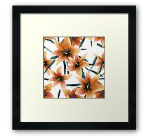 Seamless pattern with orange lilies texture on white Framed Print