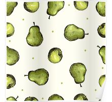 seamless pattern of fruit - apple and pear Poster