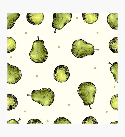 seamless pattern of fruit - apple and pear Photographic Print
