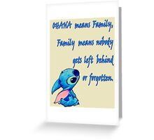 Lilo & Stitch - Ohana Family Quote (2) Greeting Card